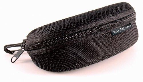 Flying Fisherman Zipper Shell Sunglass Case, Belt Loop and Clip (Black), Single