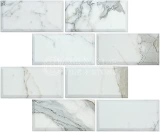 Calacatta Gold (Italian Calcutta) Marble 3 X 6 Subway Field Tile, Polished and Deep Beveled