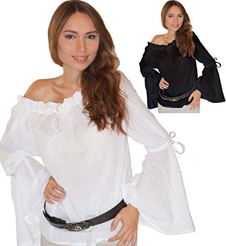 Maylynn - Tunique médiévale Elena - Pur Coton - Noir ou Blanc - Blanc