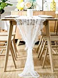 BOXAN 30' x 120' Vintage Wedding White Lace Table Runner, Rose Floral Lace Table Overlay Table Cover, Rustic Wedding Reception Table Decorations, Bridal Shower Baby Shower Party Decorations