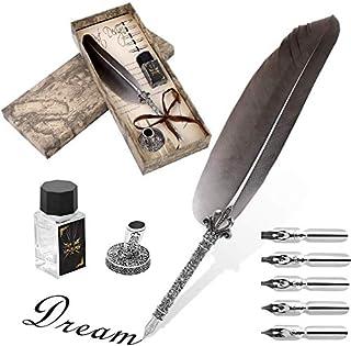 porta penna e applicazioni in metallo drago sullinchiostro Set scrittura con penna piuma decorata con drago