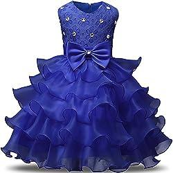 Blue Kids Ruffles Lace Party Dress