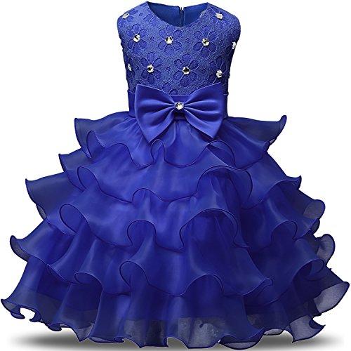 NNJXD Mädchen Kleid Kinder Rüschen Spitze Party Brautkleider Größe(110) 3-4 Jahre Blau