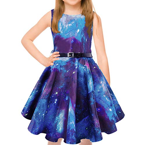 uideazone Twirly Dresses for Girls Galaxy Patterns Girl Dresses Retro Pleated Skirt with Belt 8-9 Years Blue