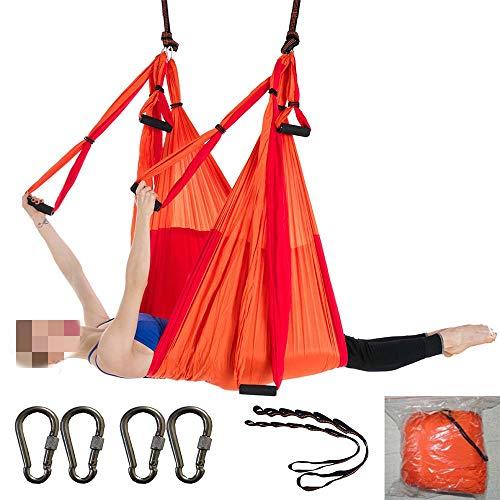 WDMSN Amaca Oscillante per Aerial Yoga, per Esercizi di Inversione di Yoga Antigravity Amaca/Trapezio per Interni E Esterni con Salute Arancione E Rosso Carico di 300 kg Amaca per Pilates