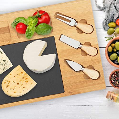 Relaxdays 10022234 Käsebrett Set, Bambus Käseplatte unterteilt, 3 Käsemesser, Schieferplatte, HxBxT: 3 x 40 x 30 cm, Natur