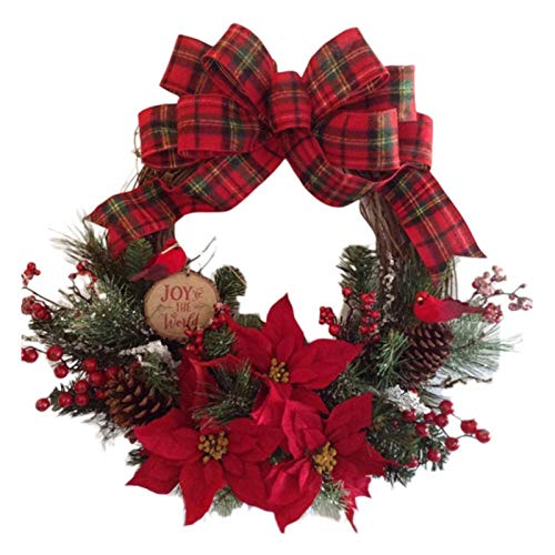 duibai Flower Artificial Christmas Wreaths On The Door Artificial Garland Door Hanging Decorative Supplies for Christmas Party Decoration #4W (Color : B)