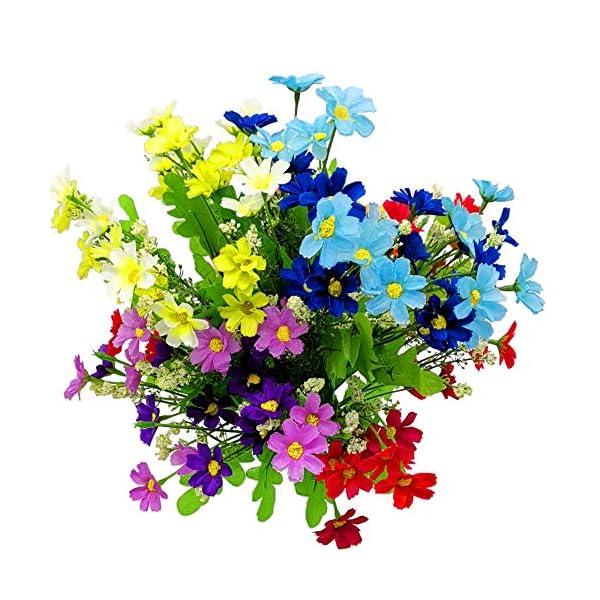 Margaritas Artificiales Decoracion, realista falso hermoso Blanco-Verde, Rosa-Púrpura, Naranja, Azul y Rojo boda casera…