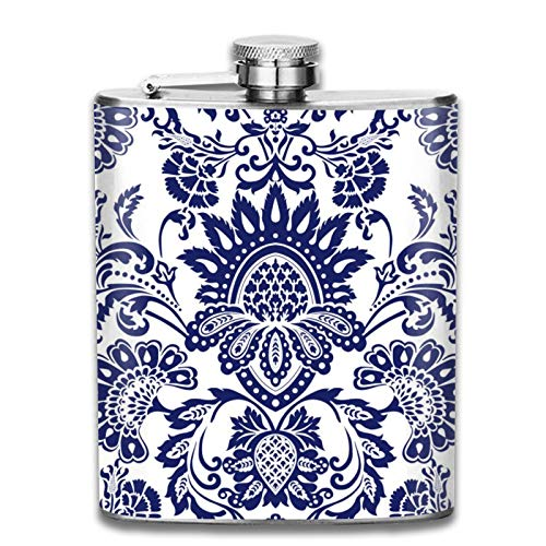 Petaca de acero inoxidable portátil de 7 onzas de damasco azul y blanco para licor, whisky, vino, bandera, para escalada, camping, barbacoa, bar, fiesta, bebedor