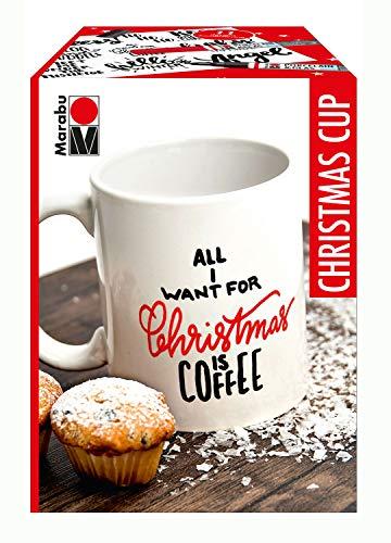 Marabu 0123000000103 - Porcelain & Glas Painter, Tassenset Christmas Cup, 1 Porzellantasse weiß + 2 Porzellan- und Glasmalstifte 1 - 2 mm in kirsche und schwarz und Malvorlage, Weihnachtsgeschenk