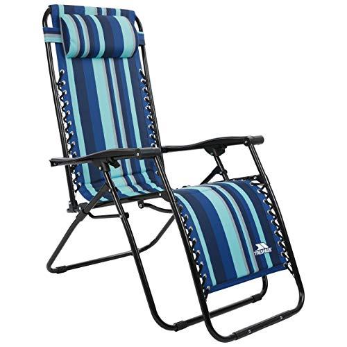 Trespass Glentilt Padded Reclining Sun Lounger Summer Pool Patio Outdoors Garden Chair (Blue Stripe)