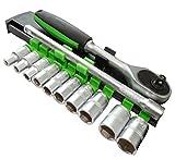AERZETIX: Juego de Llaves de Vaso carraca Compacto 1/4 Extension 12cm 4/5/6/7/8/9/10/11/12/13mm CR-V C17080
