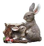 ERZHUI Decoraciones de jardín Adornos de jardín al aire libre Lindo Resina Conejito Resina Maceta Paquete de Jardín Decoración Animales al aire libre Padre-Hijo Conejo Americano Estilo País
