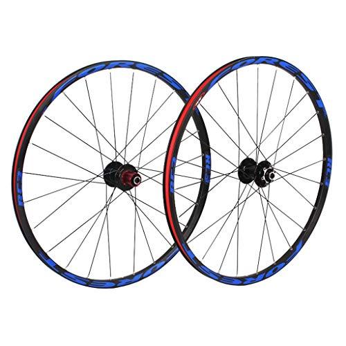 VHHV MTB Coppia Ruote 26' Ruota Bici 27,5 Pollici Lega, 7/8/9 velocità Doppio Muro Rim per 1,25-2,3 Pollici Pneumatici (Color : Blue, Size : 27.5')