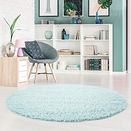 carpet city Shaggy Teppich Hochflor Langflor Pastell Einfarbig Modern in Türkis für Wohnzimmer; Größe: 120x120 cm Rund