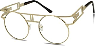 Vintage Round Steampunk Open Metal Brow Bar Flat Clear Lens Fashion Glasses