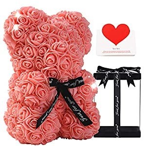 gifts for women – rose bear – rose flower bear hand made rose teddy bear – gift for valentines day, mothers day, wedding and anniversary & bridal showers – w/clear clear gift box 10 inch (champagne) silk flower arrangements