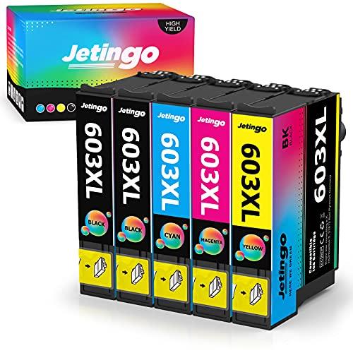 Jetingo - Confezione da 5 cartucce di ricambio per Epson 603 603 XL per Expression Home XP-2100 XP-2105 XP-3100 XP-3105 XP-4100 XP-4105, Workforce WF-2810DWF WF-2830DWF WF-2835DWF WF-2850DWF