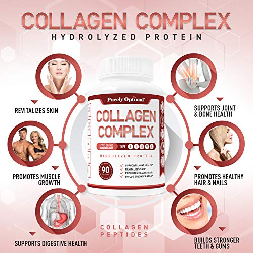 Premium Multi Collagen Peptides Capsules (Types I, II, III, V, X) - Anti-Aging, Hair, Skin and Nails, Digestive & Joint Health Supplement, Hydrolyzed Collagen Pills, Women & Men (90 Collagen Capsules) 4