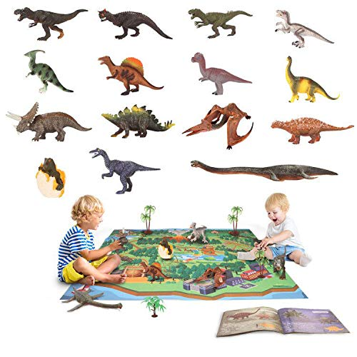 YouCute Dinosaur Toys 15 Figuras realistas con PlayMat Libros Educativos 16CM a 25CM Dino Party Supplies para niños Niños Niñas Incluyendo T-Rex Triceratops Velociraptor Pterosaur