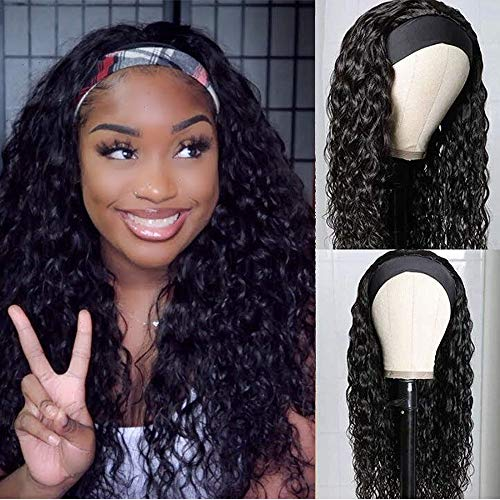 UNice Headband Human Hair Wig Water Wave Glueless None Lace Front Machine Made Brazilian Virgin Hair Wigs for Black Women 150% Density (16 inch)