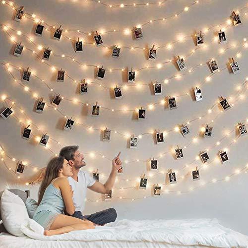 Guirnalda de luces con clip para fotos, 100 luces de hadas con clips para fotos, luces fotográficas con 50 clips transparentes para recámara, pared o decoración de boda