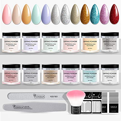 Dip Pulver Nagel Starter Kit, 12 Farben Dipping Powder Nail Kit, Dip Powders Nail Art Set, Dip Nails System Powder für Nageldesign