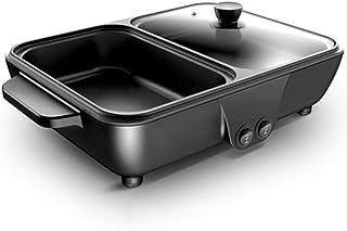 FCSFSF 2-en-1 Interior Grill Asador Hot Pot,Smokeless Parrilla De Barbacoa Shabu Pot Cocenar La Olla Control De Temperatura,Pequeño Multifuncional Cocena Eléctrica,Antiadherente Electric Griddle