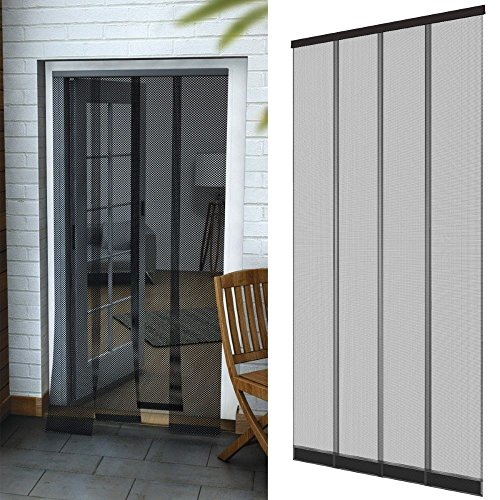DILUMA Insektenschutz Tür Vorhang 95 x 220 cm in anthrazit - Fliegenvorhang aus Polyester - Lamellen mit eingenähten Gewichten und Selbstklebende PVC Klemmleiste