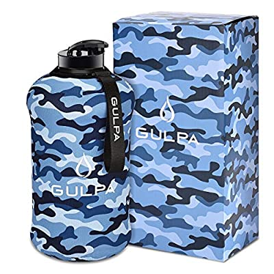 GULPA Large Gym Water Bottle With Removable Neoprene Sleeve 2.2L Half Gallon Leak Proof Wide Mouth Lid Dishwasher Safe BPA Free Hydro Jug
