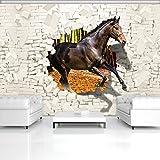 FORWALL Fototapete Vlies - Tapete Moderne Wanddeko Pferd kommt aus der Wand 3D VEXXXL (416cm. x 254cm.) AMF3138VEXXXL Wandtapete Design Tapete Wohnzimmer Schlafzimmer