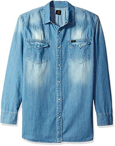 LEE - Camisa vaquera de manga larga para hombre, estilo vaquero, talla grande y alto, color vaquero - Azul - 3X