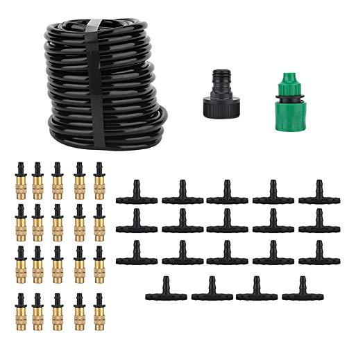 Kit de riego automático para plantas de 15 m, kit de manguera de riego de plástico + cobre 20 de cobre, patio para césped(U.S. regulations)