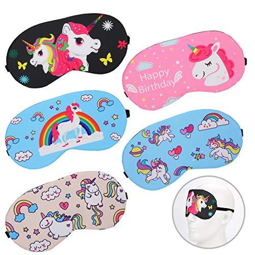 Mwoot 5 Piezas Unicornio Máscara para dormir, Antifaz suave y ligera para dormir para niños, niñas, adolescentes, mujeres, cubierta para los ojos, fiesta de unicornio