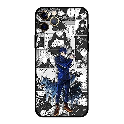 DNZJHHM Jujutsu Kaisen Gojo Satoru Anime Cool Phone Case Cover + Comic Pendant + Phone Holder,Compatible for iPhone 11 12 Pro XS MAX XR X 7 8 6 Mini Plus SE 2021