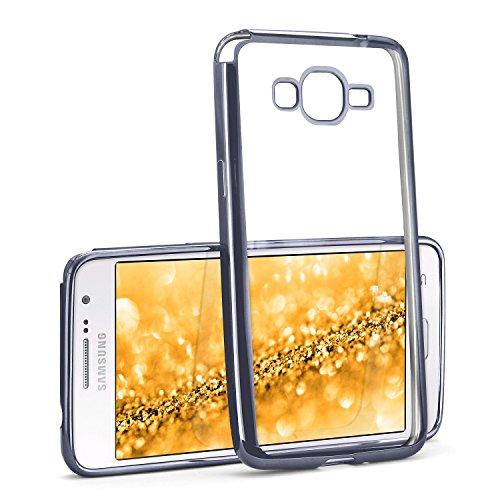 MoEx® Funda de Silicona Transparente de Estilo Cromado Compatible con Samsung Galaxy Grand Prime | Anthracite