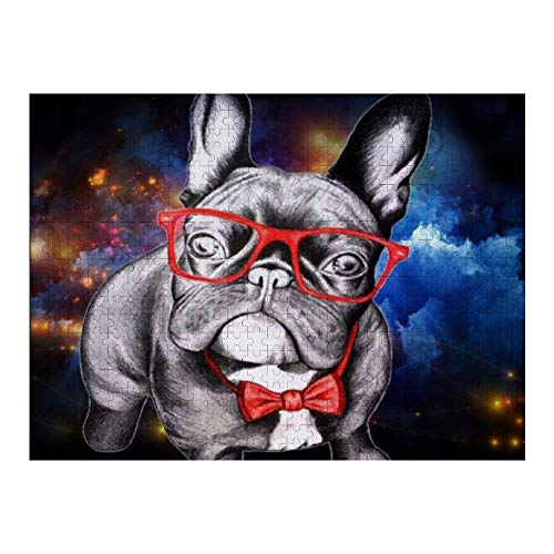 NiYoung Puzzles for Adults & Kids, 500 Piece Jigsaw Puzzles Large Puzzle Game Toys, Space Funny French Bulldog with Glass Black, 20.5' x 15'