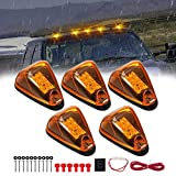 5 X Cab Marker Light, Amber Lens Amber LED Cab Roof Running Lights, Accessories Light w/Wiring Pack for 1999-2016 Ford F150 F250 F350 F450 F550 F650 F750 E150 E250 E350 E450 Super Duty Pickup Truck