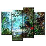 Zwei Pfauen Gehen Im Wald Schön Wandkunst Malerei Das Bild
