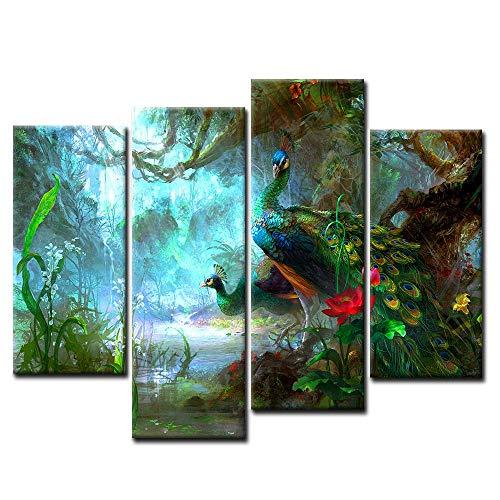 First Wall Art - Pavo Real Cuadros en Lienzo Dos Hermosos Pavos Reales Caminan en el Bosque Decoracion de Pared 4 Piezas Modernos Animales Mural Fotos para Salon,Dormitorio,Baño,Comedor