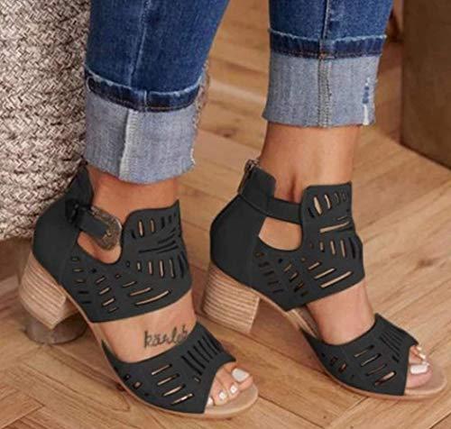 UMOOIN Frauen Sandalen Gladiator Buckle Strap Chunky Stöckel öffnen Zehe-Schuh-Sommer-Damen-Rückseiten-Reißverschluss-Partei-Schuhe,Schwarz,41