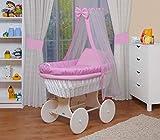 WALDIN Cuna Moisés, carretilla portabebés XXL,18 modelos a elegir,Madera/ruedas lacado en blanco,color textil rosa/a cuadros