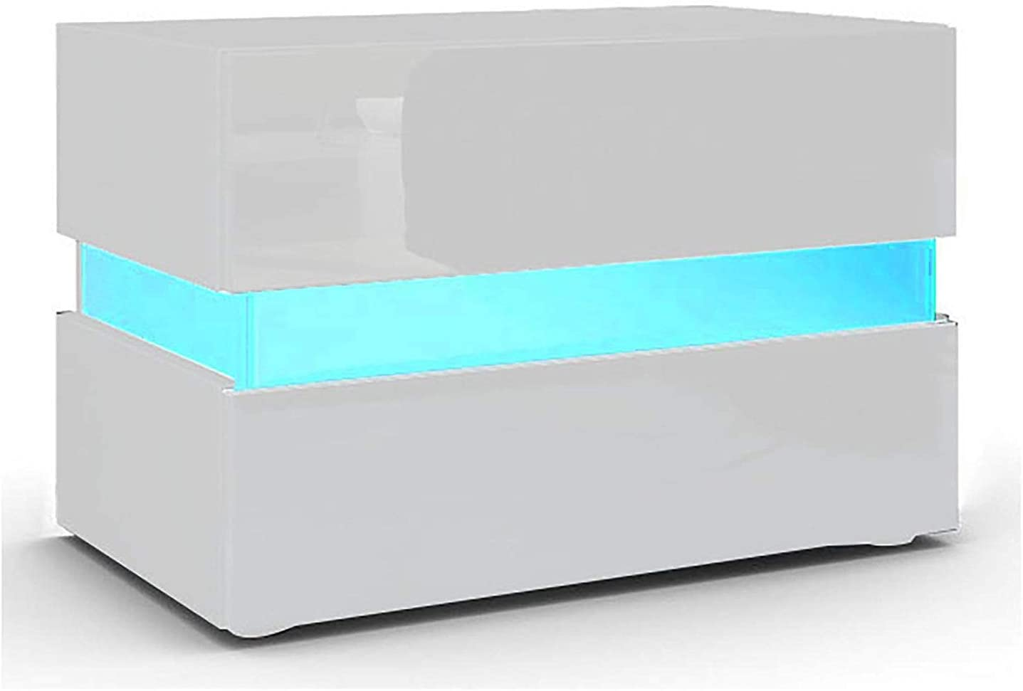 Wei/ß // 45x35x52 LED Beleuchtung f/ür Schlafzimmer//Wohnzimmer YOLEO Nachttisch Nachtschrank LED Nachtkommode Nachtkonsole Hochglanz//Front Kommode Schrank mit 2 Schubladen