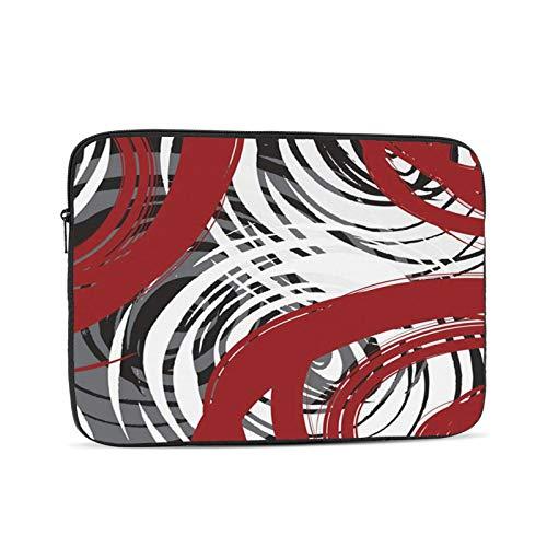 Laptop Sleeve Bag Red Black White Gray Spiral Design Pattern Abstract Retro Elegant Multicolor Portable Zipper Tablet Cover Bag Notebook Computer Protective Bag,Black