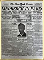 ポスター ピーター リンドバーグ VISIONAIRE(ヴィジョネアー)チャールズ・リンドバーグ NYタイムズ1927年5月22日 額装品 アルミ製ベーシックフレーム(ゴールド)
