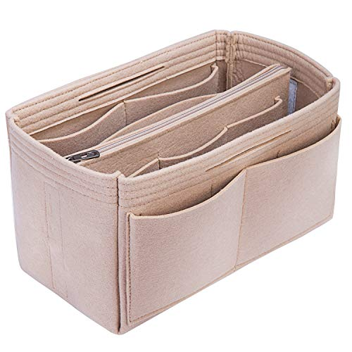 S-ZONE Damen Taschenorganizer Filztasche Innentaschen mit Multi Fächer in Handtaschen Handtaschenordner mit Abnehmbarer Reißverschlusstasche Schlüsselkette