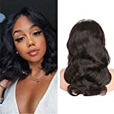 BK Beckoning 8a Real Hair Body Wave Lace Front Wig 100% Brazilian Unprocessed Human Hair Wigs 13×4 Free Part Glueless Wigs With Baby Hair 130% Density Natural Color 12 Inch