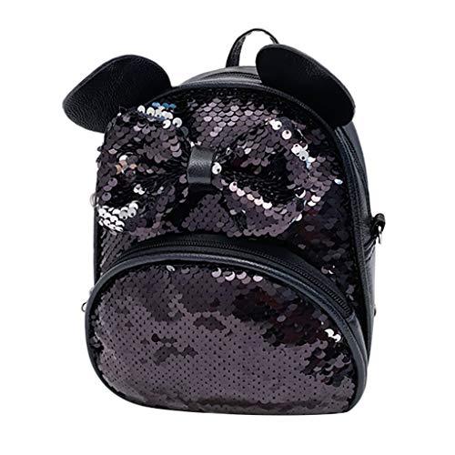 aiyvi Mädchen Bogen Kinderrucksäcke,2 In 1 Umhängetasche Messenger Bag Mini Pailletten Rucksack Backpack Kinder Schultasche Glitzer,Allmählich Wechselnde Farbe,Freizeit Reise Nette Mode
