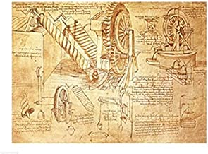 Posterazzi Facsimile of Codex Atlanticus Screws and Water Wheels Poster Print by Leonardo Da Vinci, ((24 x 18)