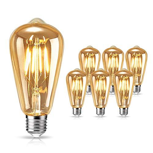 Preisvergleich Produktbild tonitott Edison Vintage Glühbirne,  Edison LED Glühbirne E27 4W Warm Licht Vintage Antike Glühbirne Retro Filament Lampe für Nostalgie und Retro Beleuchtung im Haus Café Bar usw - 6 Stück